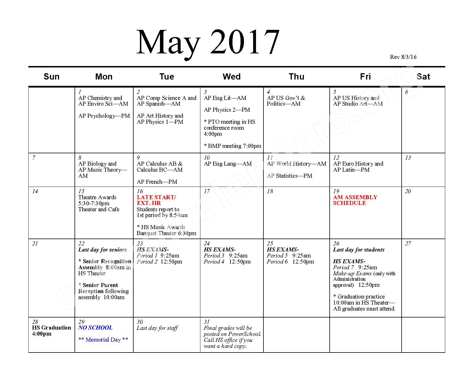 2016 - 2017 School Calendar – Bexley City School District – page 10