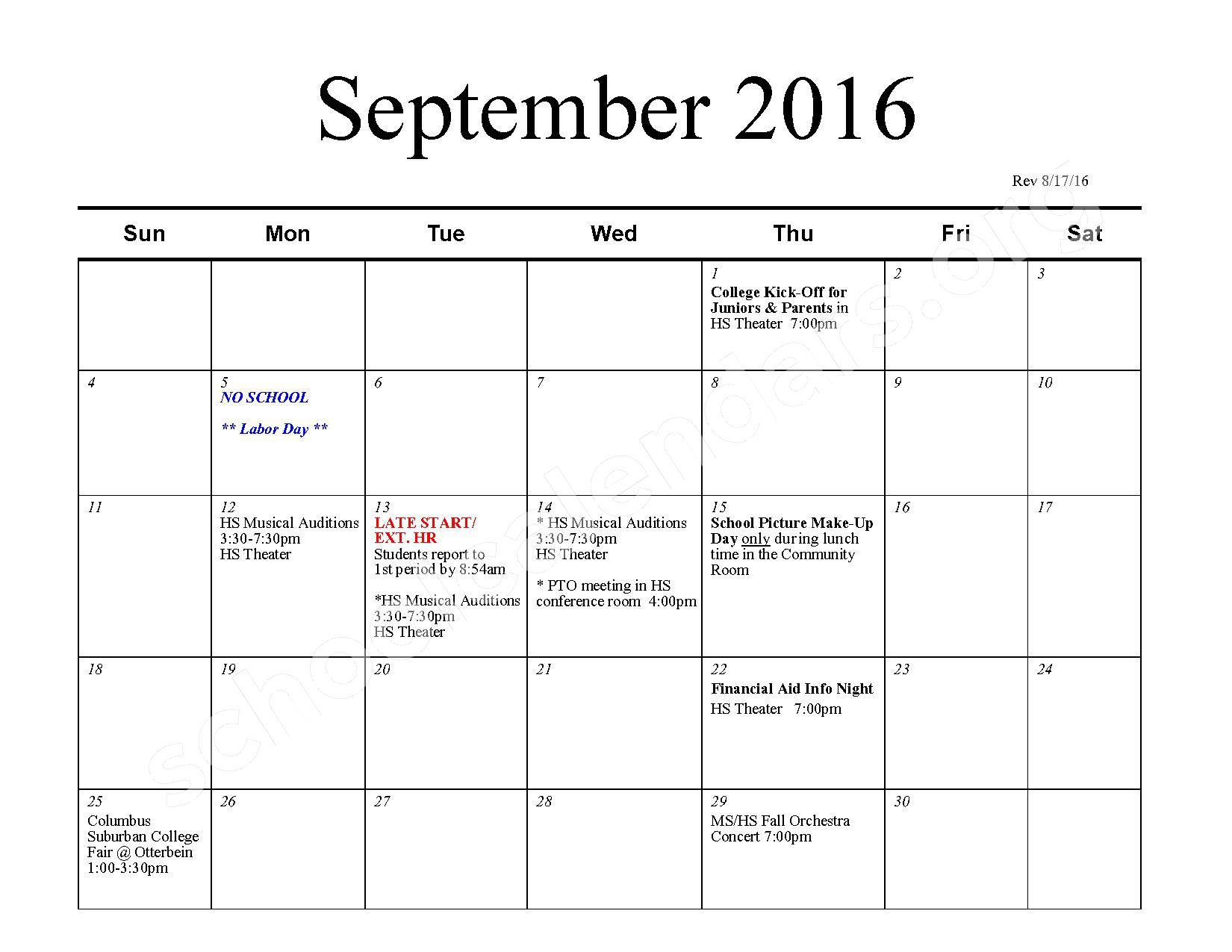 2016 - 2017 School Calendar – Bexley City School District – page 2