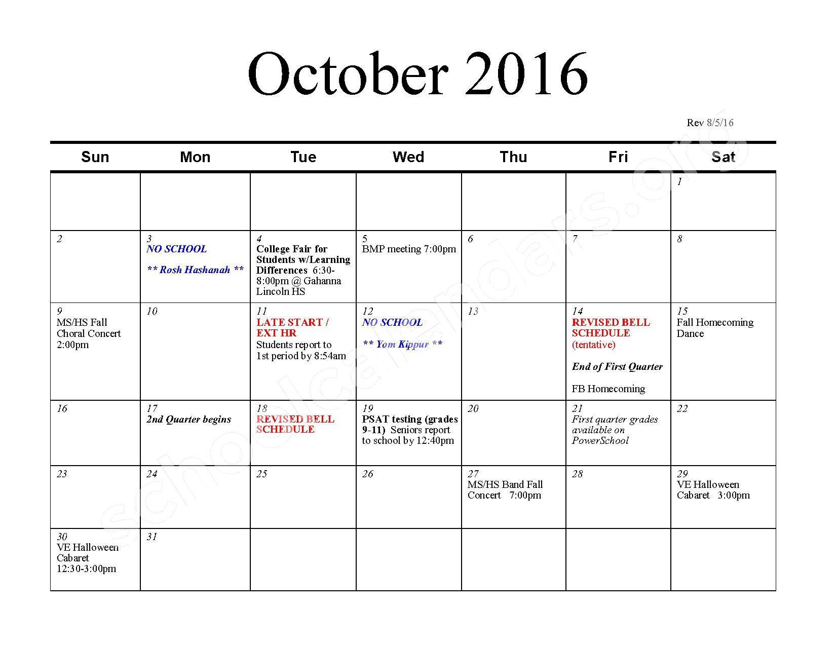 2016 - 2017 School Calendar – Bexley City School District – page 3