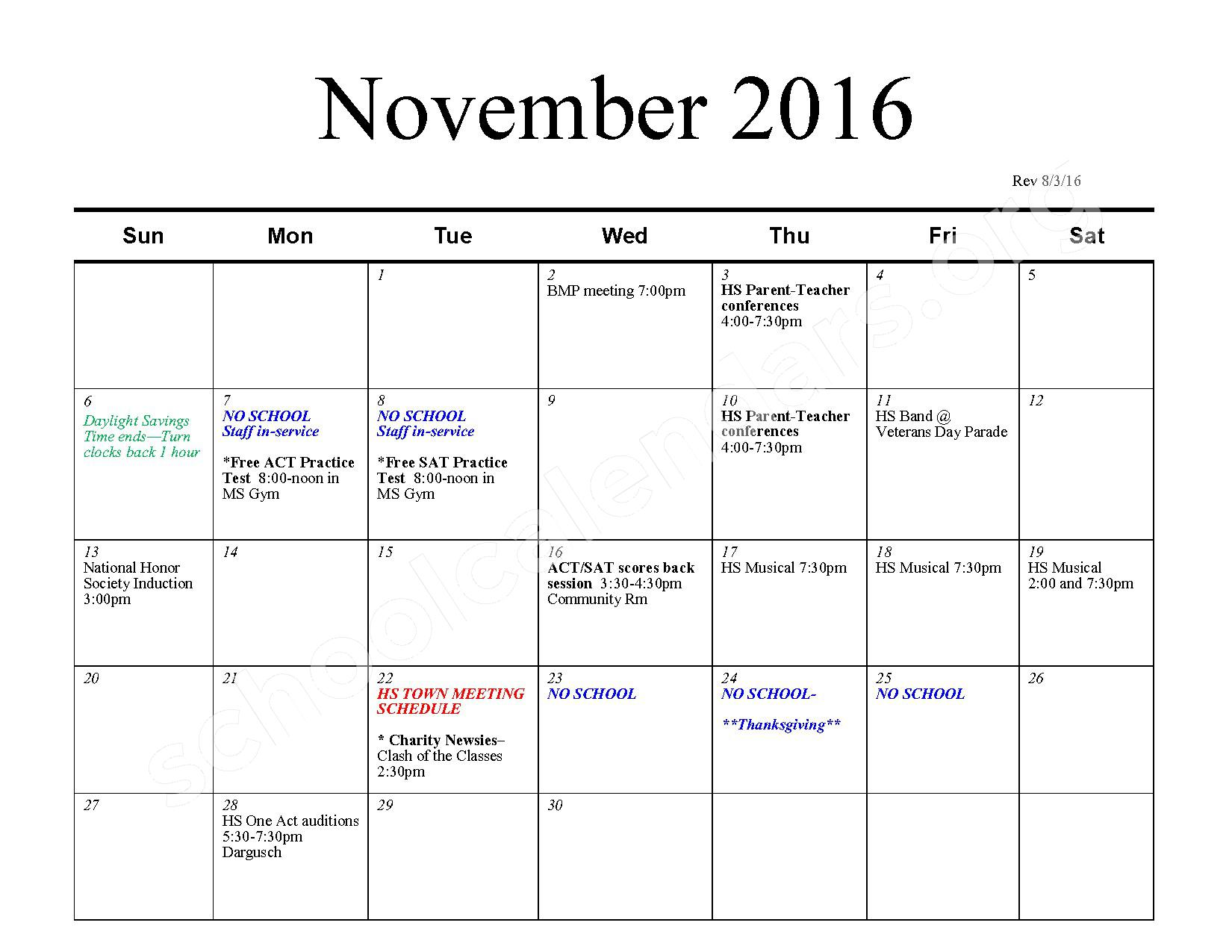 2016 - 2017 School Calendar – Bexley City School District – page 4