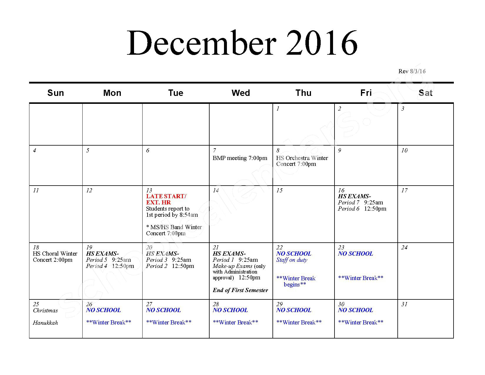 2016 - 2017 School Calendar – Bexley City School District – page 5
