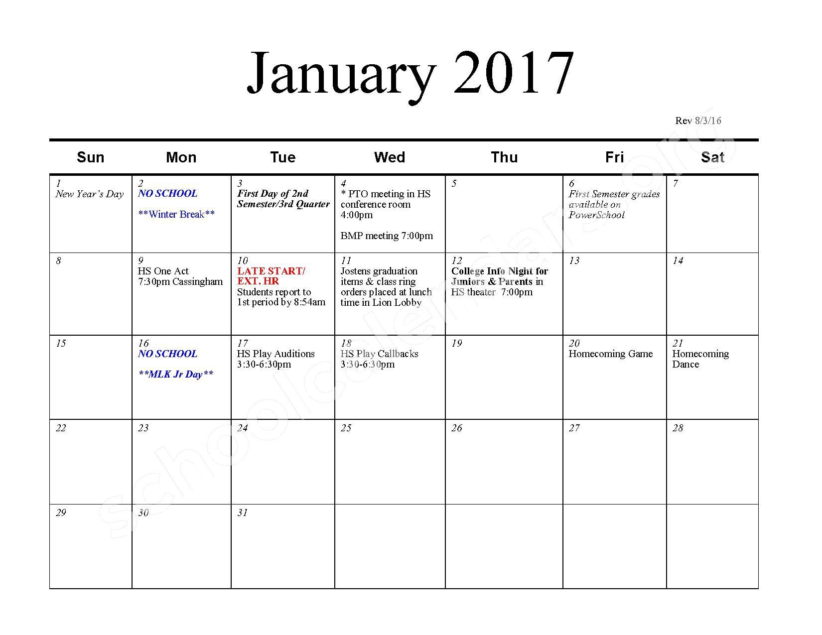 2016 - 2017 School Calendar – Bexley City School District – page 6