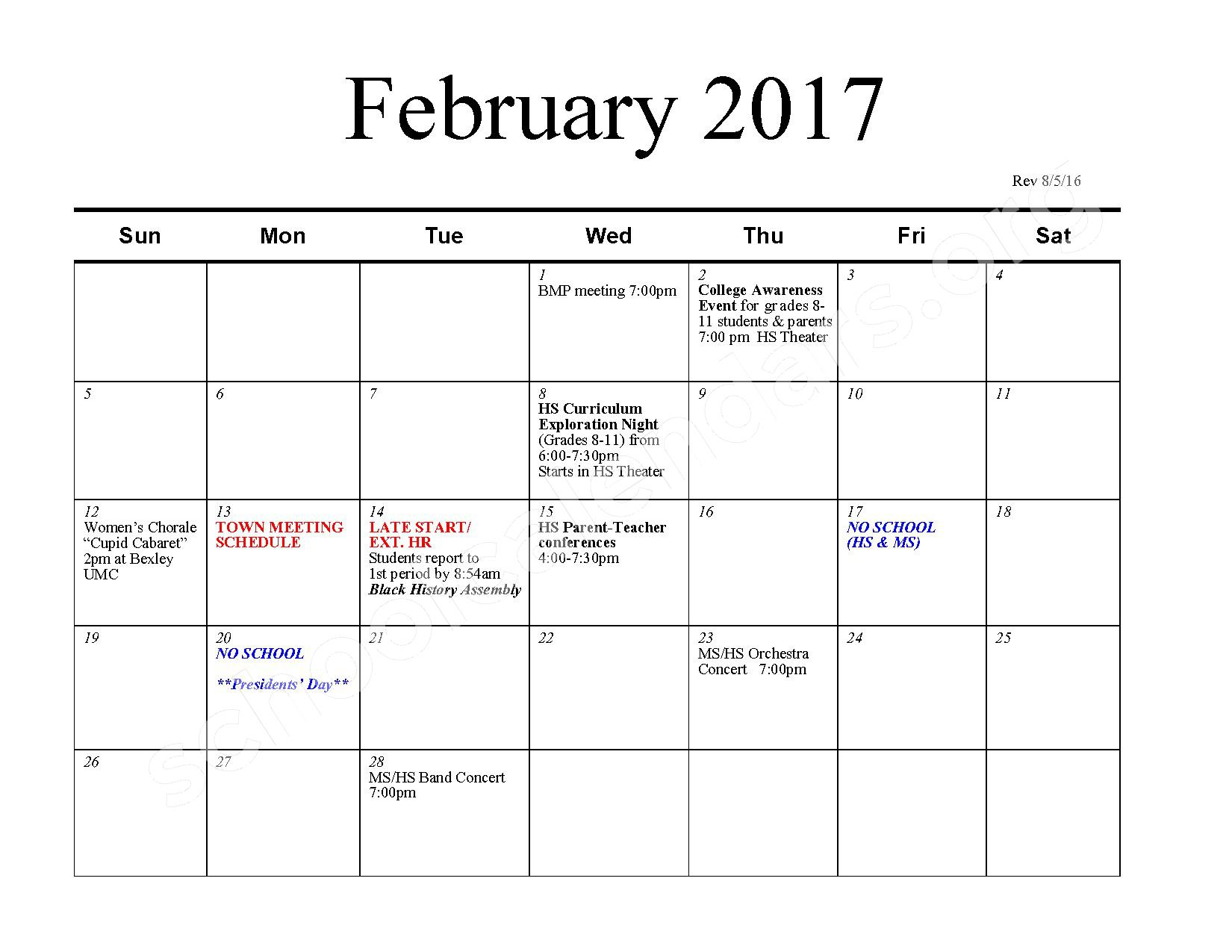 2016 - 2017 School Calendar – Bexley City School District – page 7