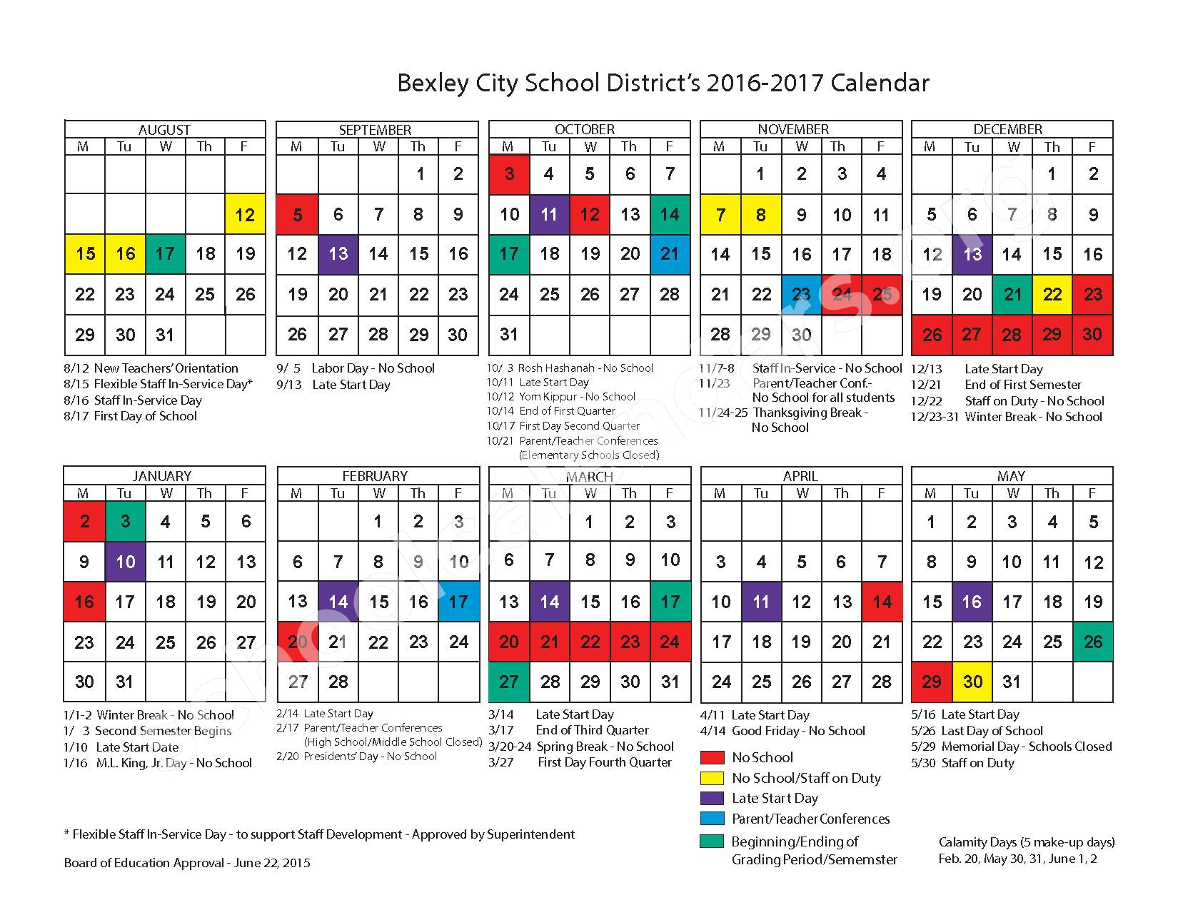 2016 - 2017 District Calendar – Bexley City School District – page 1