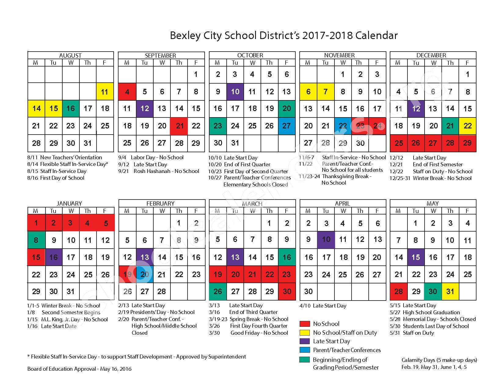2017 - 2018 District Calendar – Bexley City School District – page 1