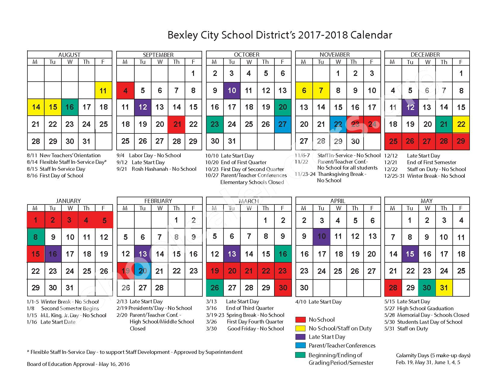 2017 - 2018 District Calendar – Bexley City School District – page 1