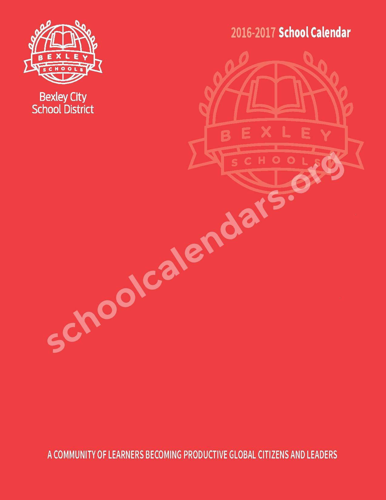 2016 - 2017 School Calendar – Bexley City School District – page 1