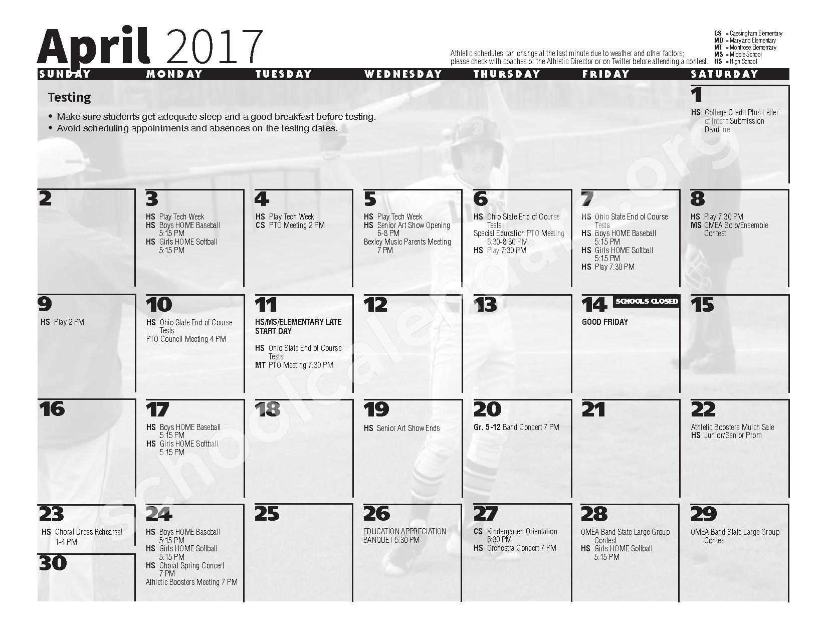 2016 - 2017 School Calendar – Bexley City School District – page 10