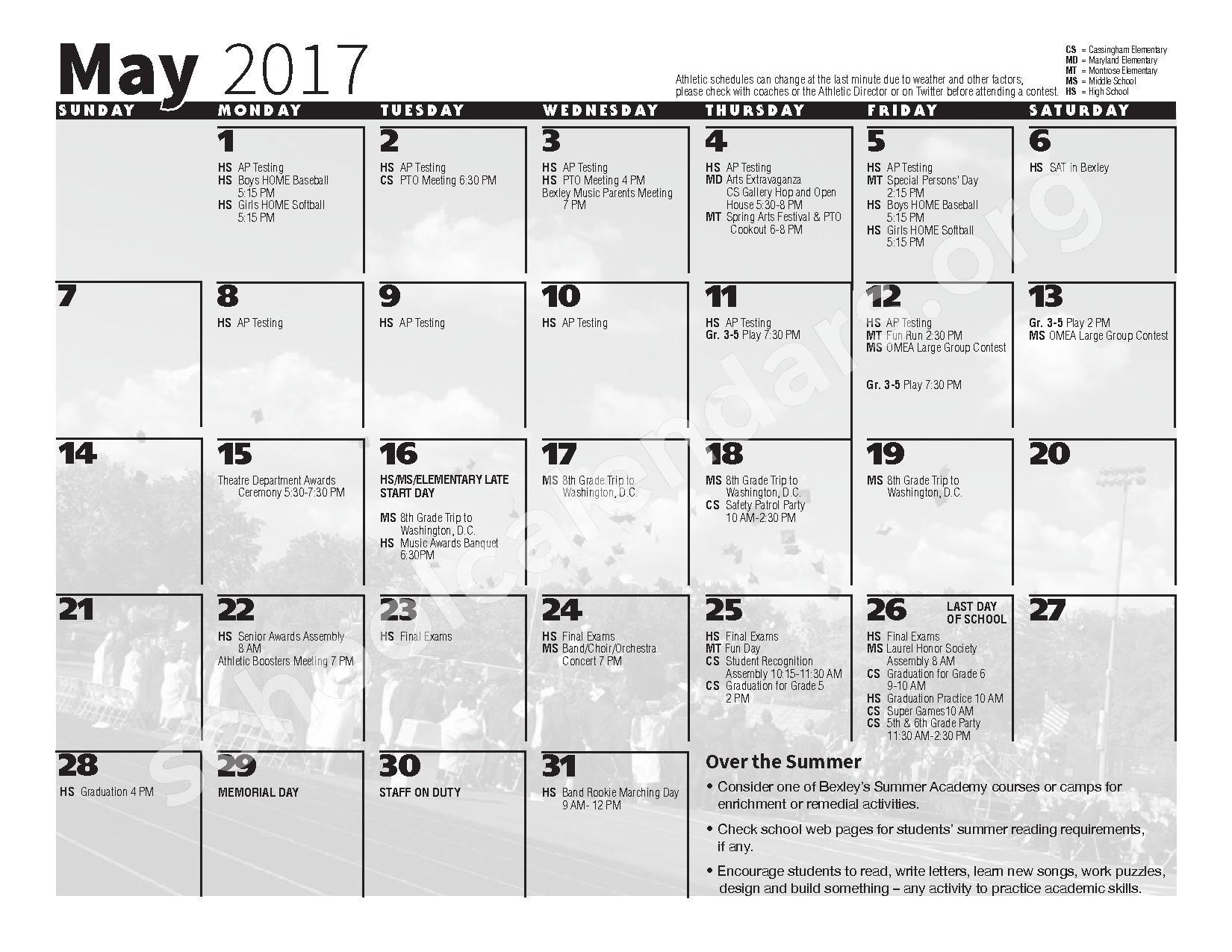 2016 - 2017 School Calendar – Bexley City School District – page 11