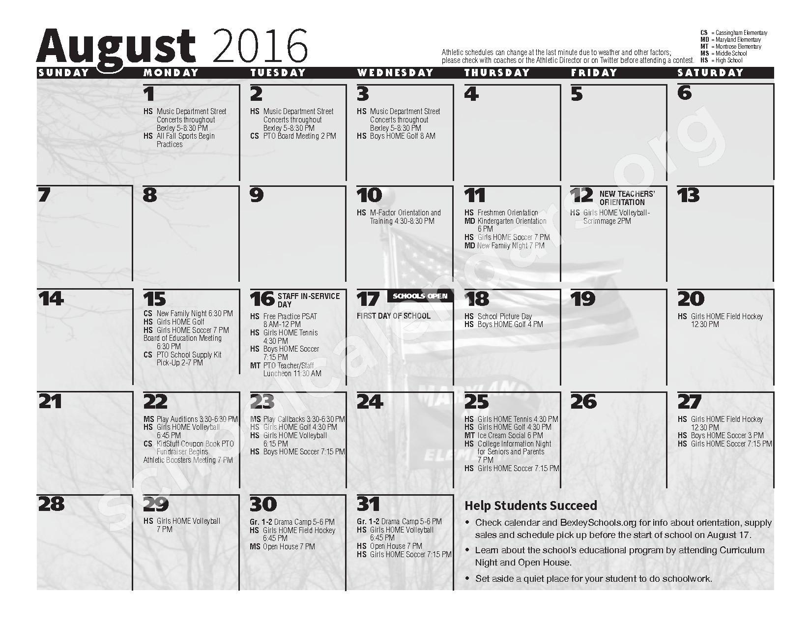 2016 - 2017 School Calendar – Bexley City School District – page 2