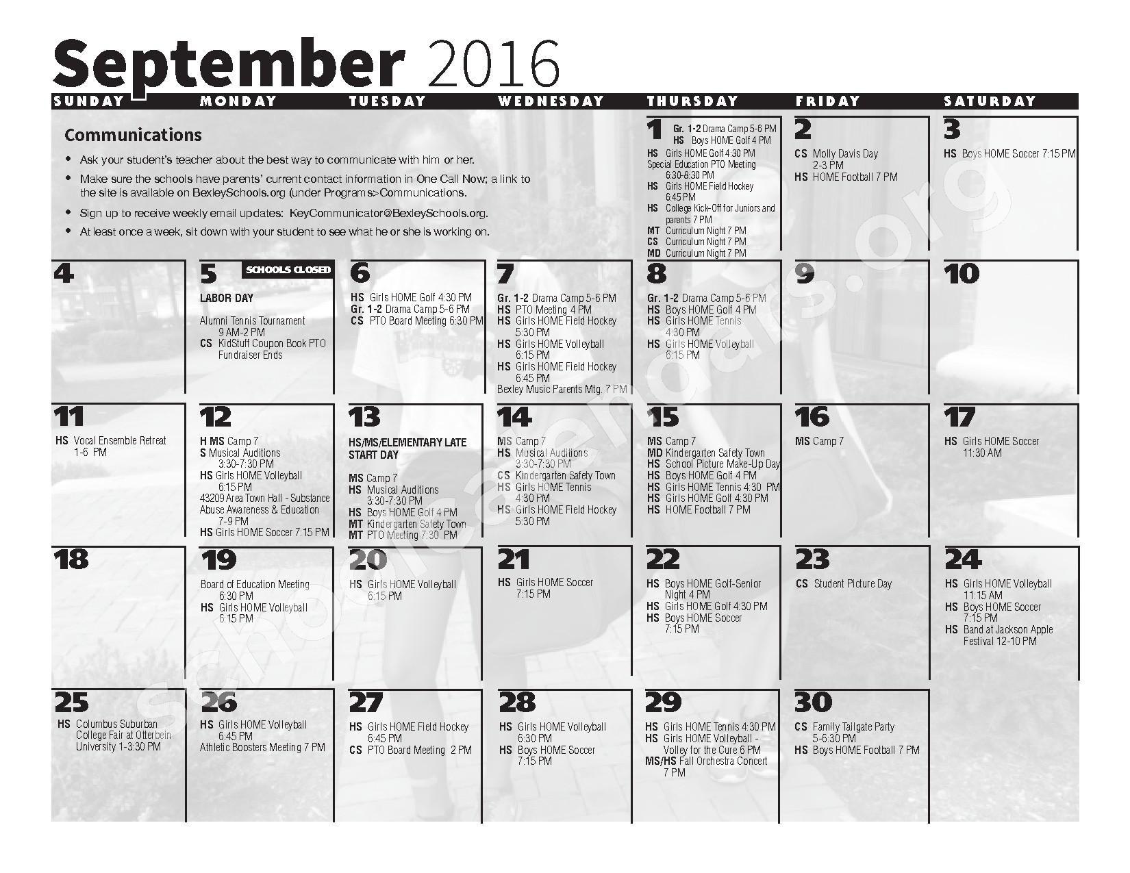 2016 - 2017 School Calendar – Bexley City School District – page 3