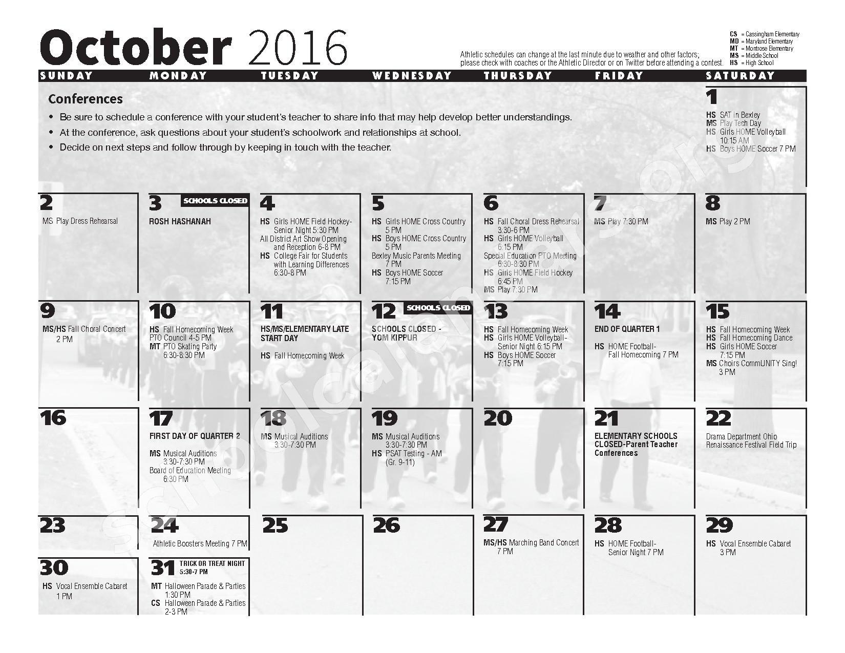 2016 - 2017 School Calendar – Bexley City School District – page 4