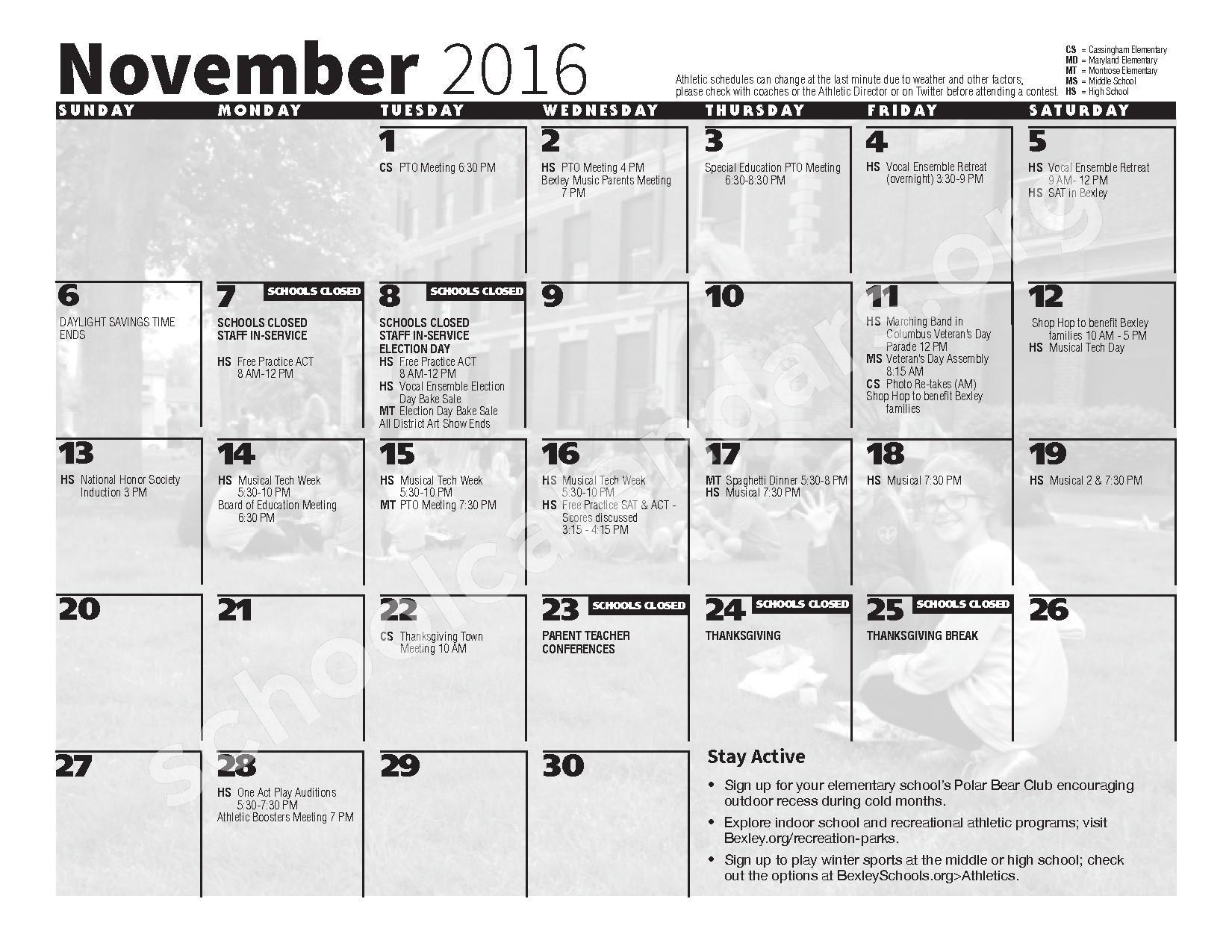 2016 - 2017 School Calendar – Bexley City School District – page 5