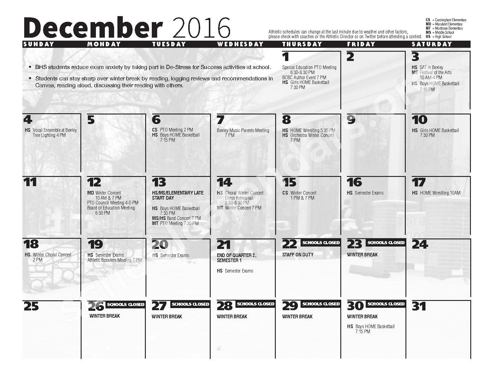 2016 - 2017 School Calendar – Bexley City School District – page 6