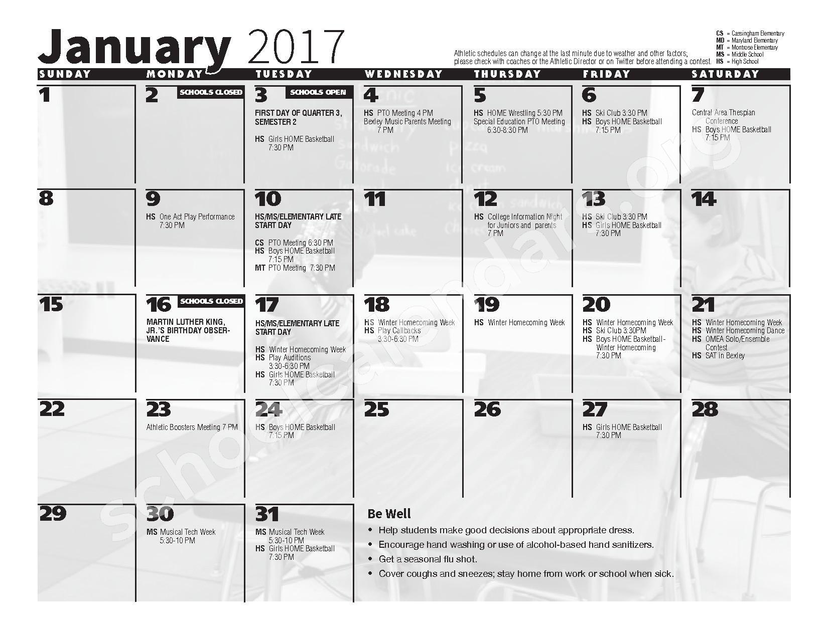 2016 - 2017 School Calendar – Bexley City School District – page 7