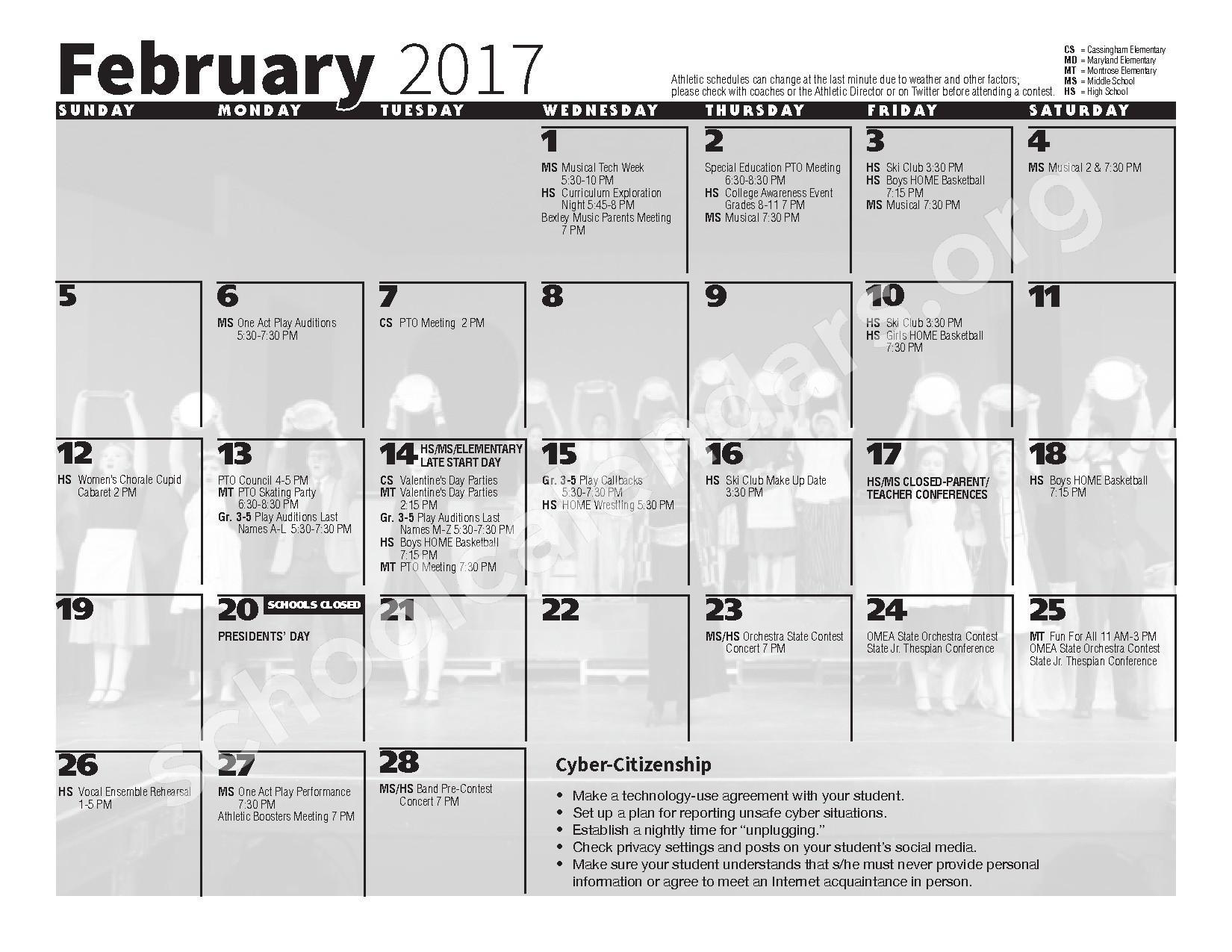 2016 - 2017 School Calendar – Bexley City School District – page 8