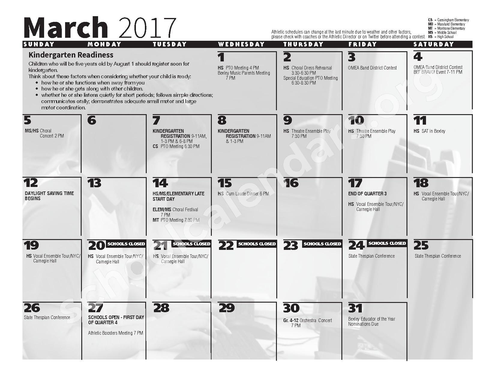 2016 - 2017 School Calendar – Bexley City School District – page 9