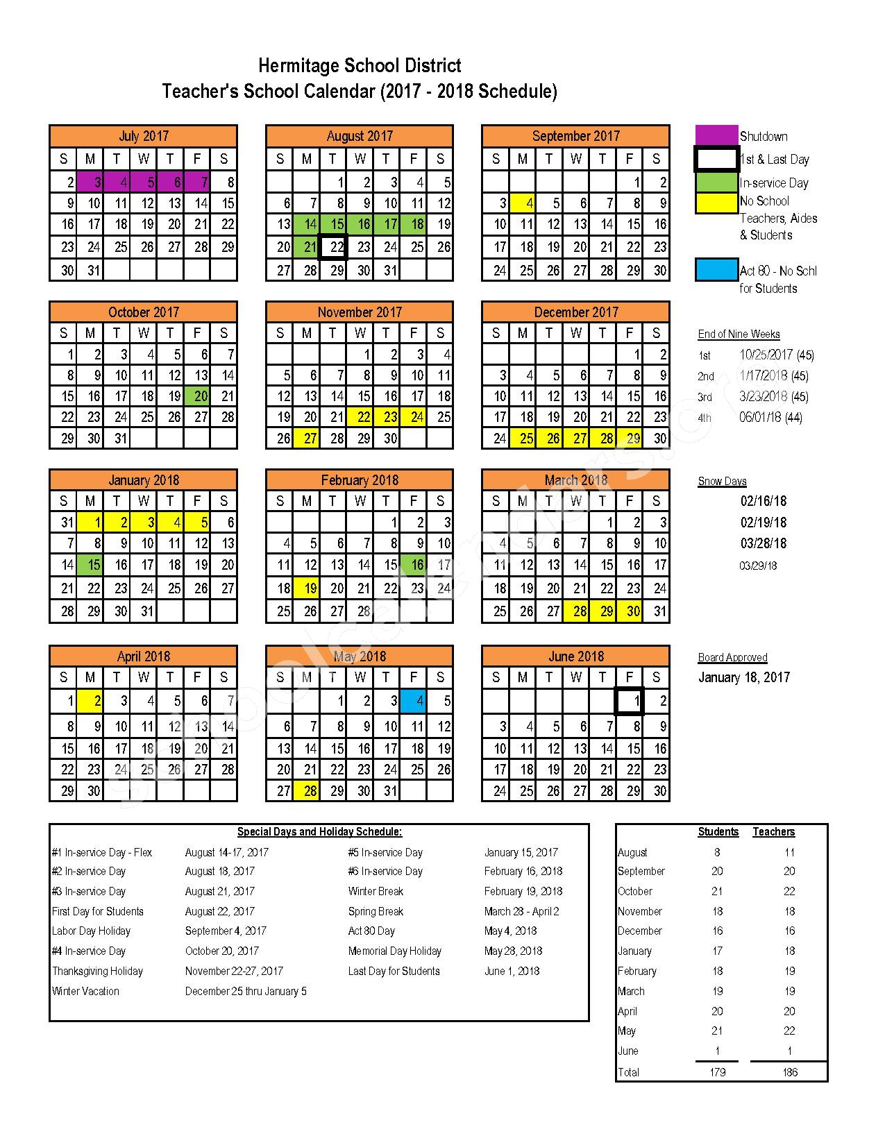 2017 - 2018 School Calendar – Hermitage School District – page 1