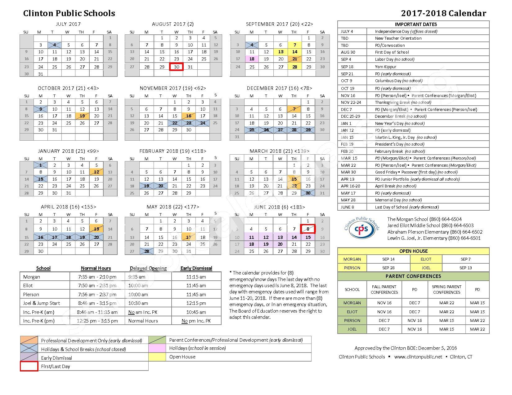 2017 - 2018  School Calendar – Clinton Public Schools – page 1