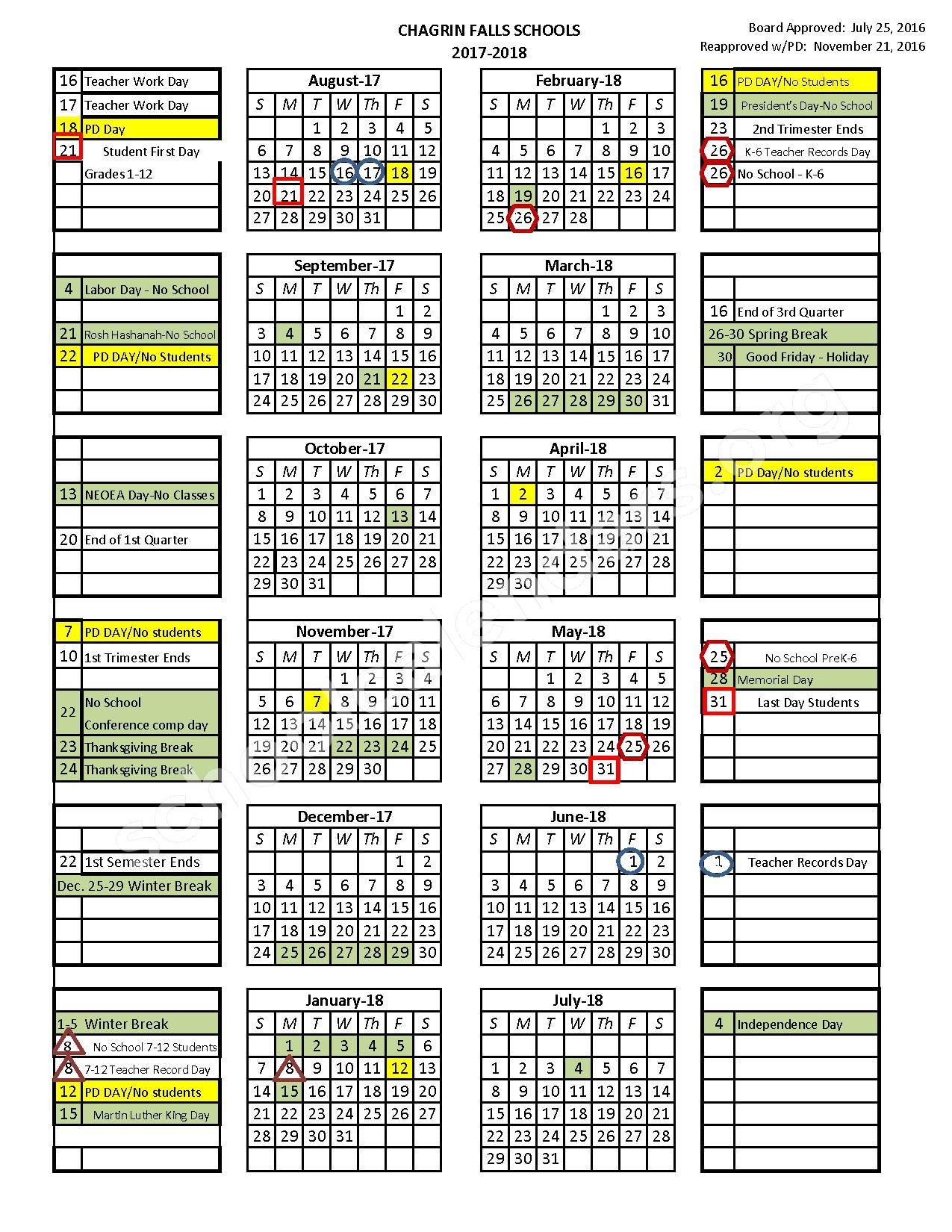 2017 - 2018 School Calendar – Chagrin Falls Exempted Village Schools – page 1