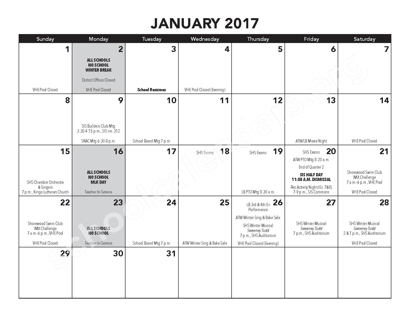 2016 - 2017 District Calendar – Atwater Elementary School – page 11