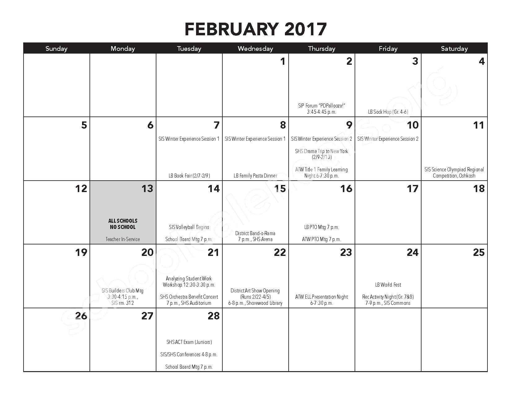 2016 - 2017 District Calendar – Atwater Elementary School – page 12
