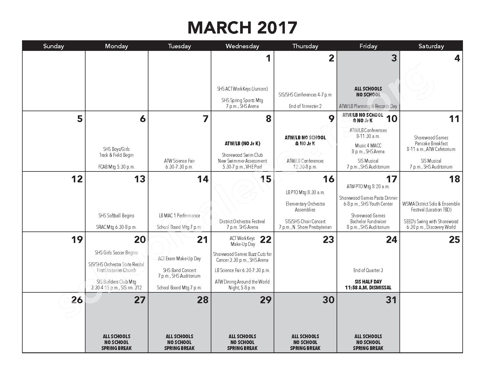 2016 - 2017 District Calendar – Atwater Elementary School – page 13