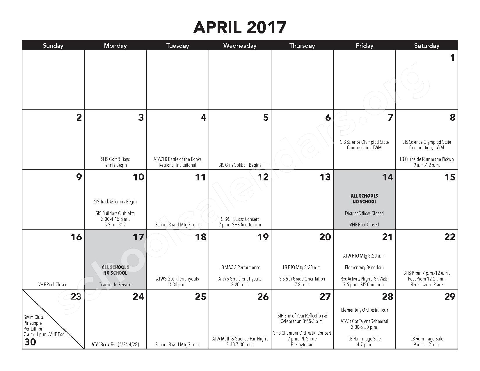 2016 - 2017 District Calendar – Atwater Elementary School – page 14