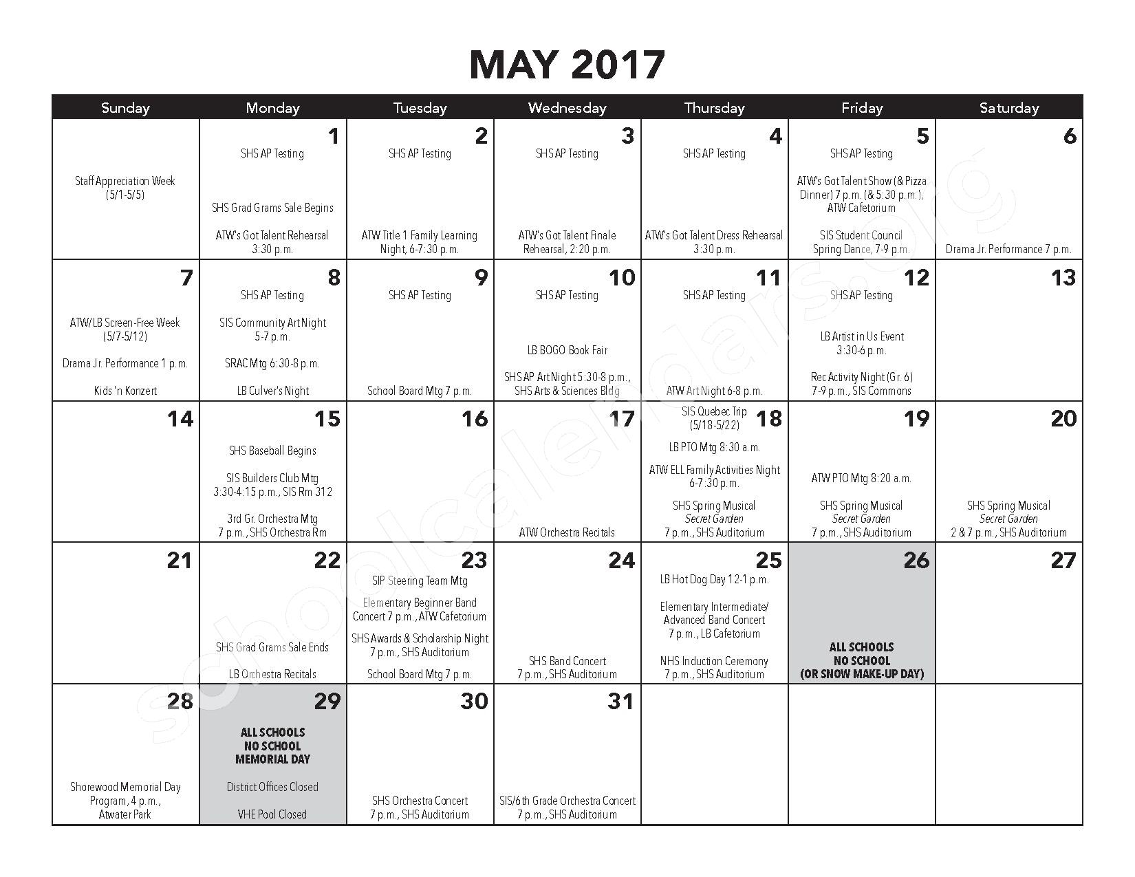 2016 - 2017 District Calendar – Atwater Elementary School – page 15