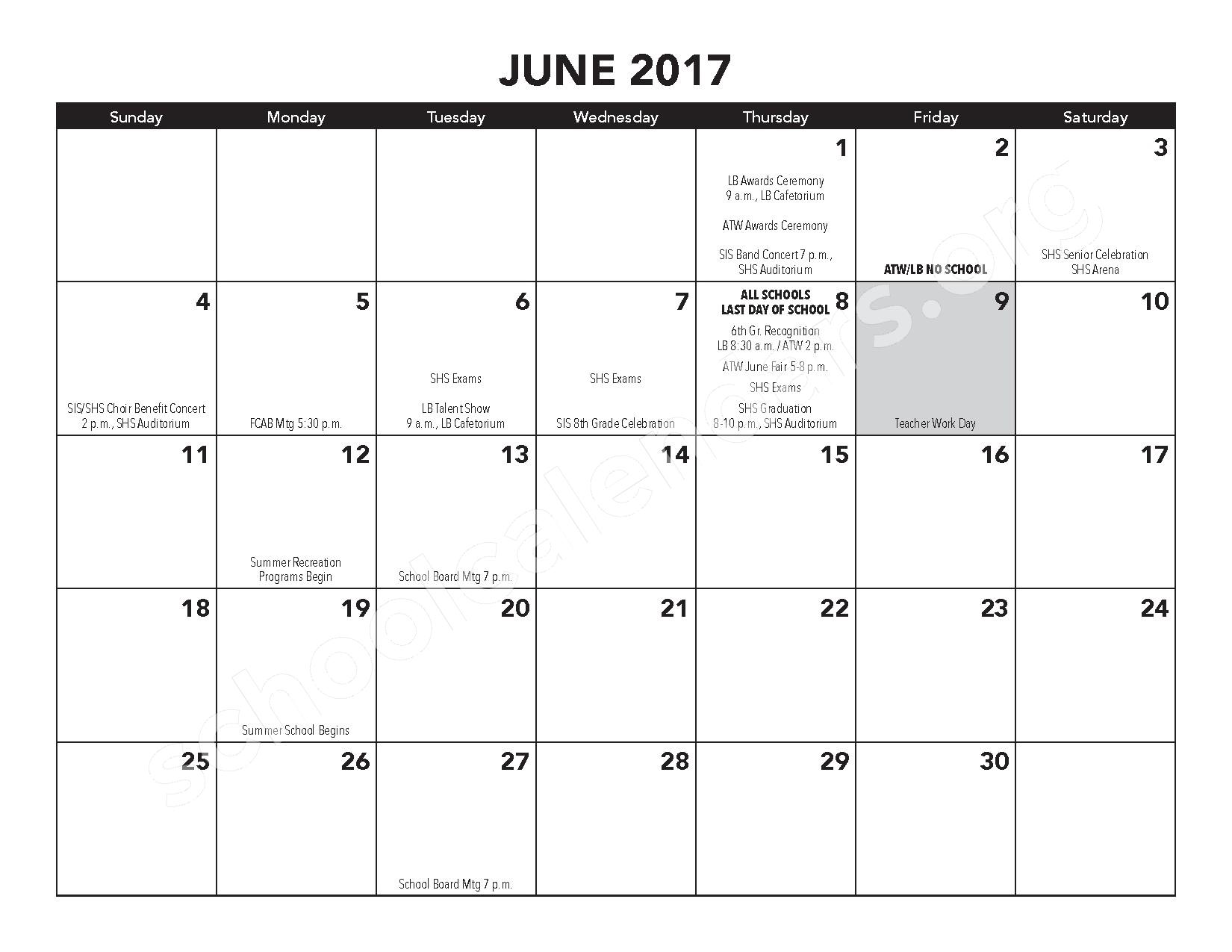 2016 - 2017 District Calendar – Atwater Elementary School – page 16