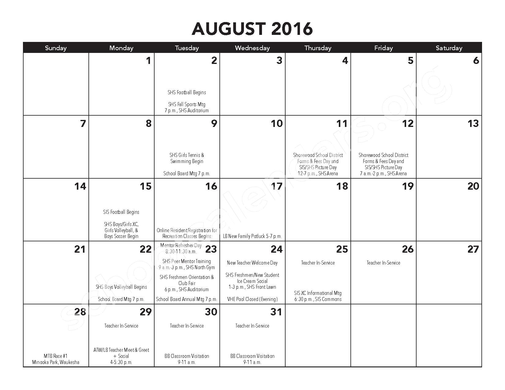 2016 - 2017 District Calendar – Atwater Elementary School – page 6