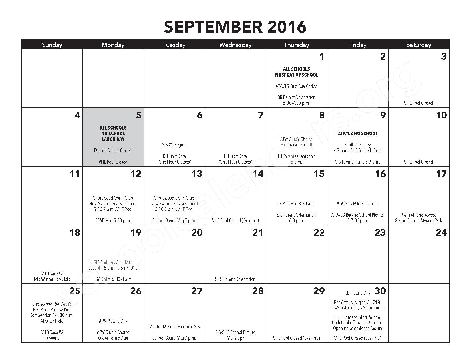 2016 - 2017 District Calendar – Atwater Elementary School – page 7