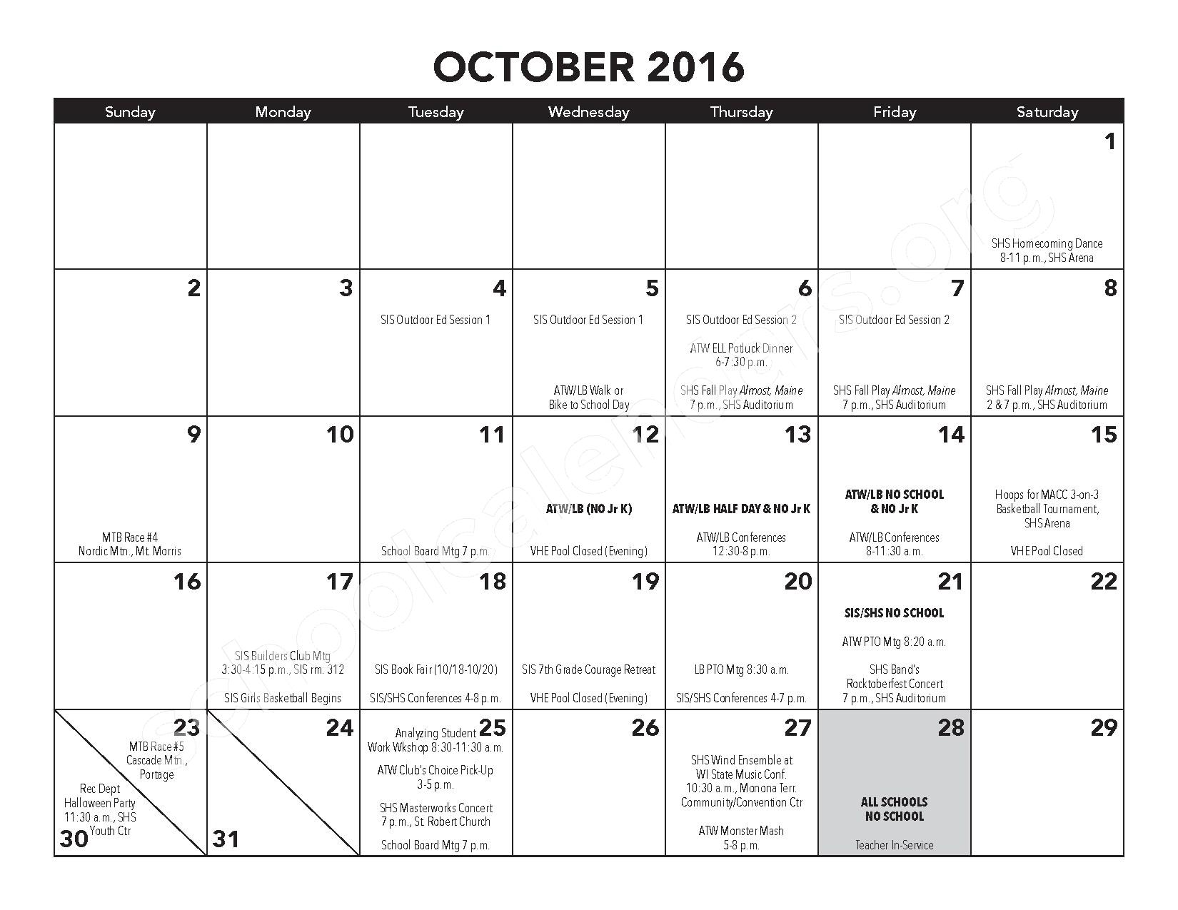 2016 - 2017 District Calendar – Atwater Elementary School – page 8