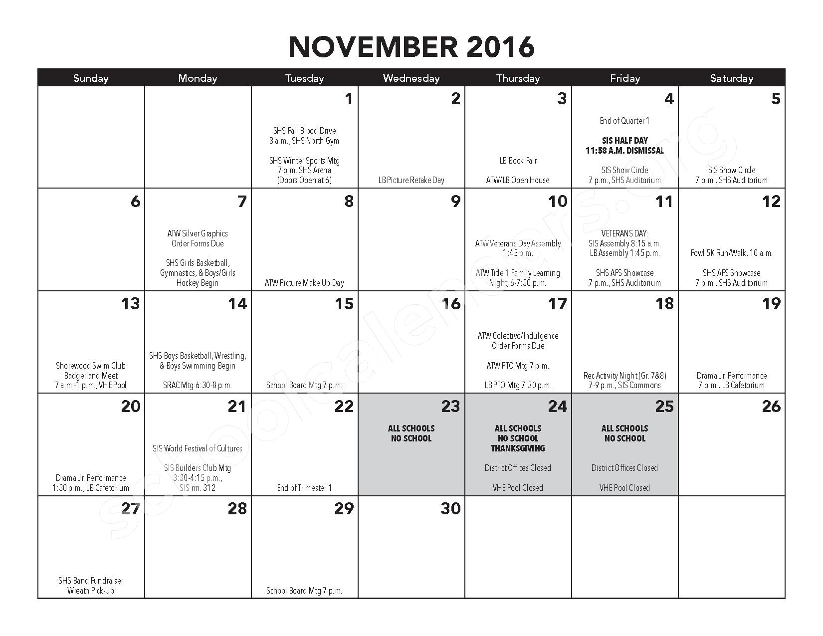 2016 - 2017 District Calendar – Atwater Elementary School – page 9