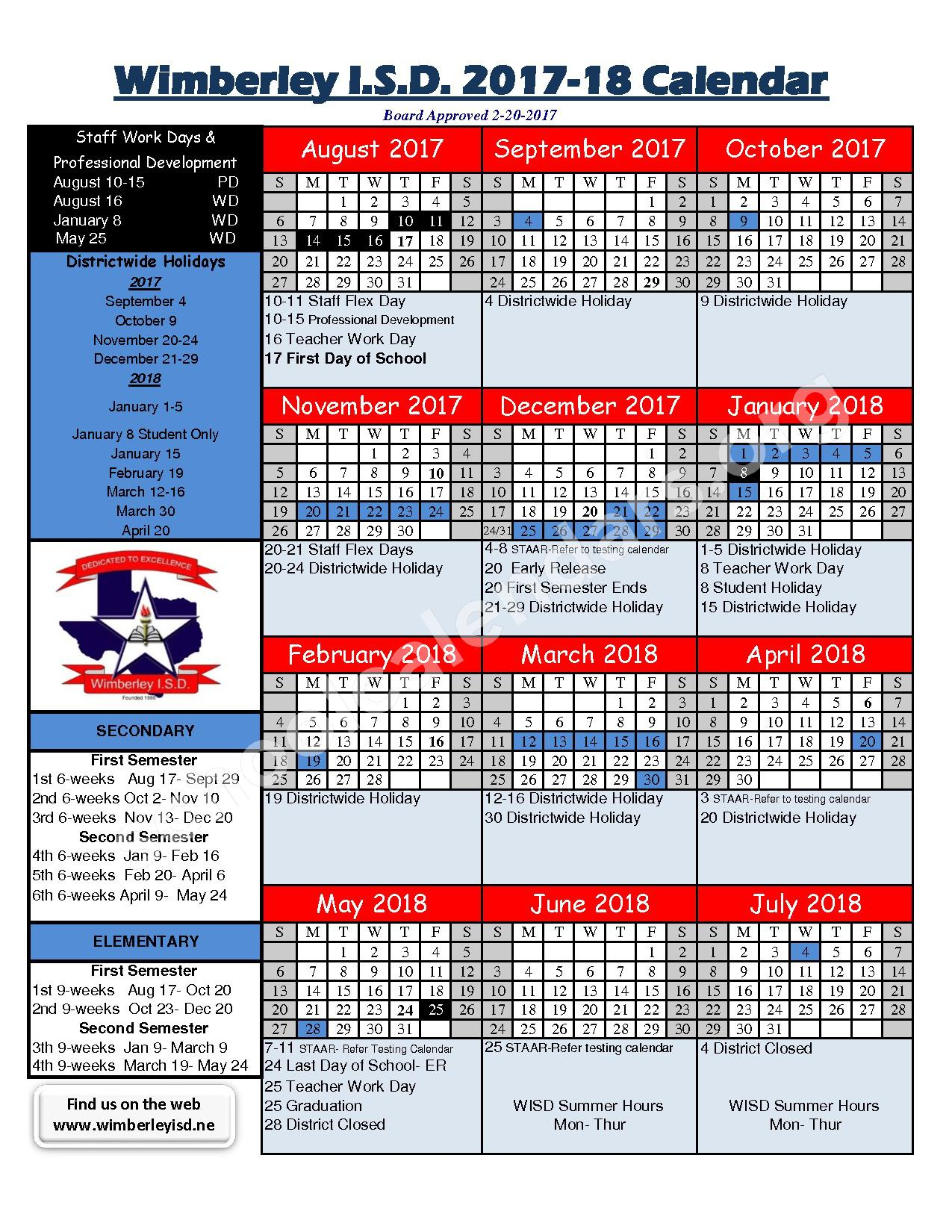 2017 - 2018 Wimberley ISC Calendar – Wimberley Independent School District – page 1