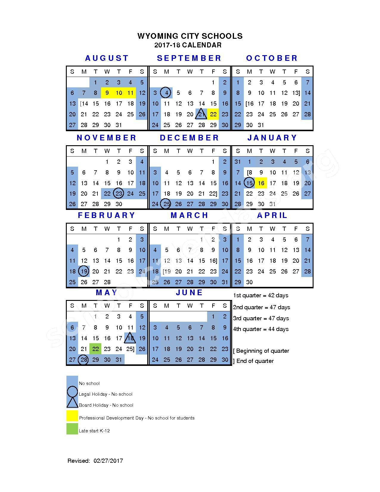 2017 - 2018 District Calendar – Wyoming City Schools – page 1