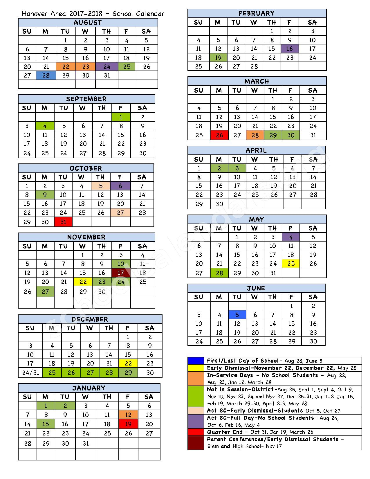 2017 - 2018 School Calendar – Hanover Area School District – page 1