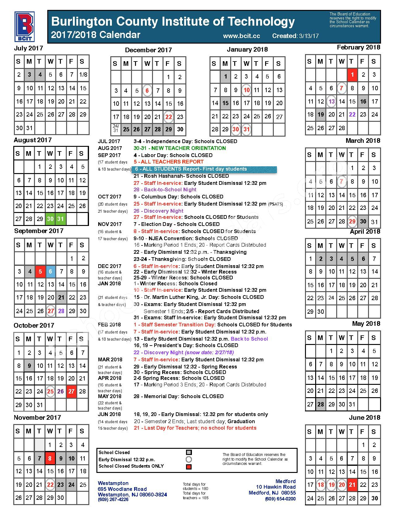 2017 - 2018 District Calendar – Burlington County Institute of Technology – page 1