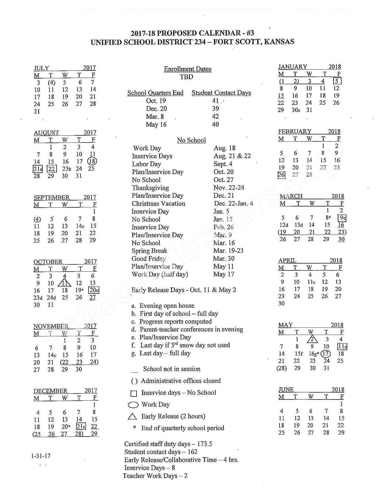 2017 - 2018 School Calendar – Fort Scott Unified School District 234 – page 1