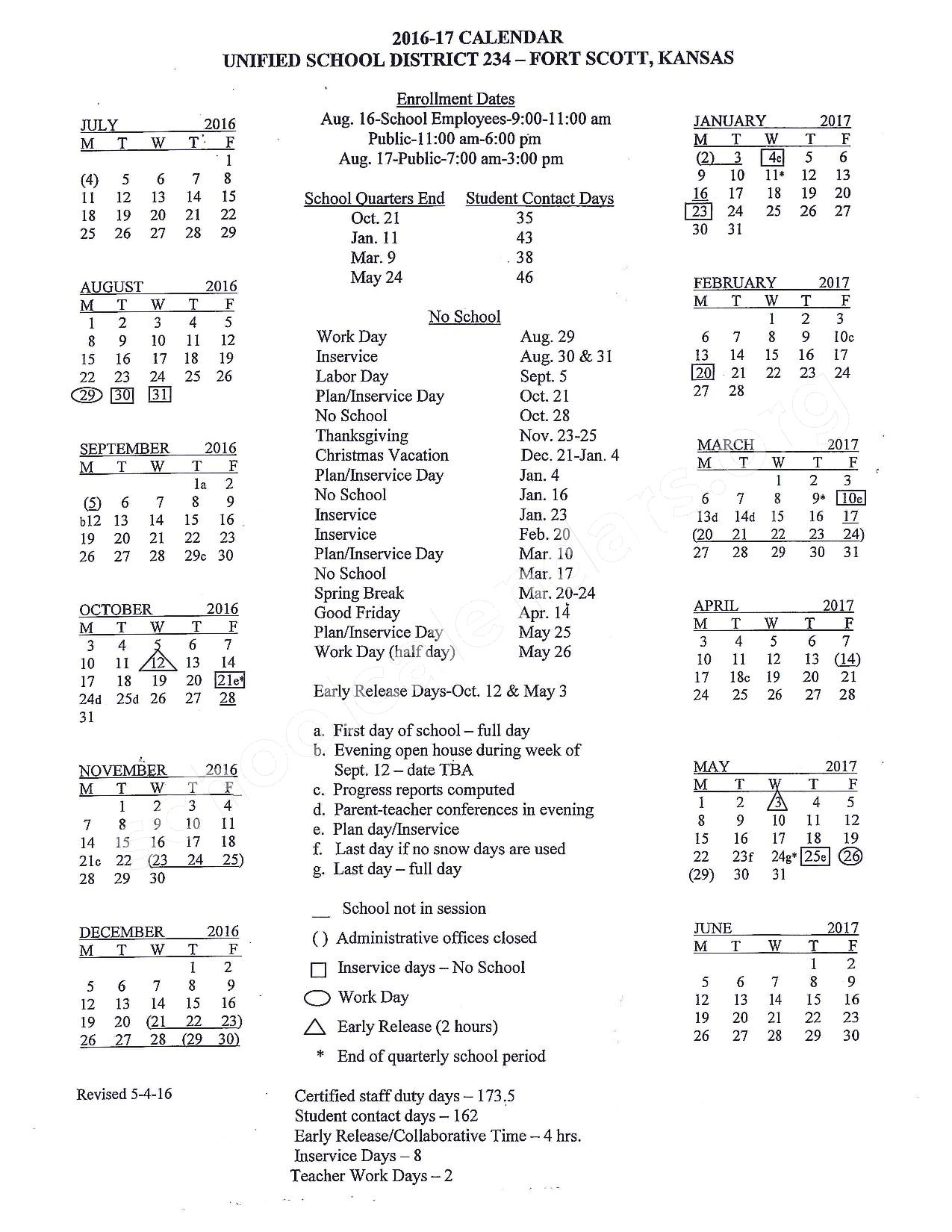 2016 - 2017 School Calendar – Fort Scott Unified School District 234 – page 1