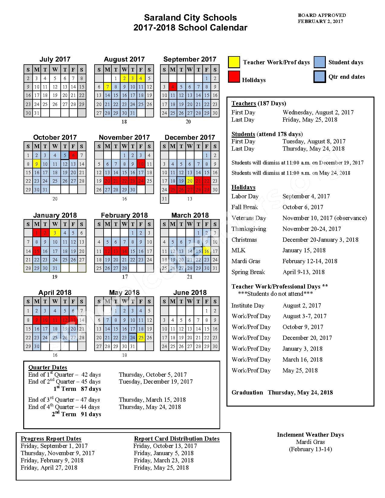 2017 - 2018 School Calendar – Saraland City Schools – page 1