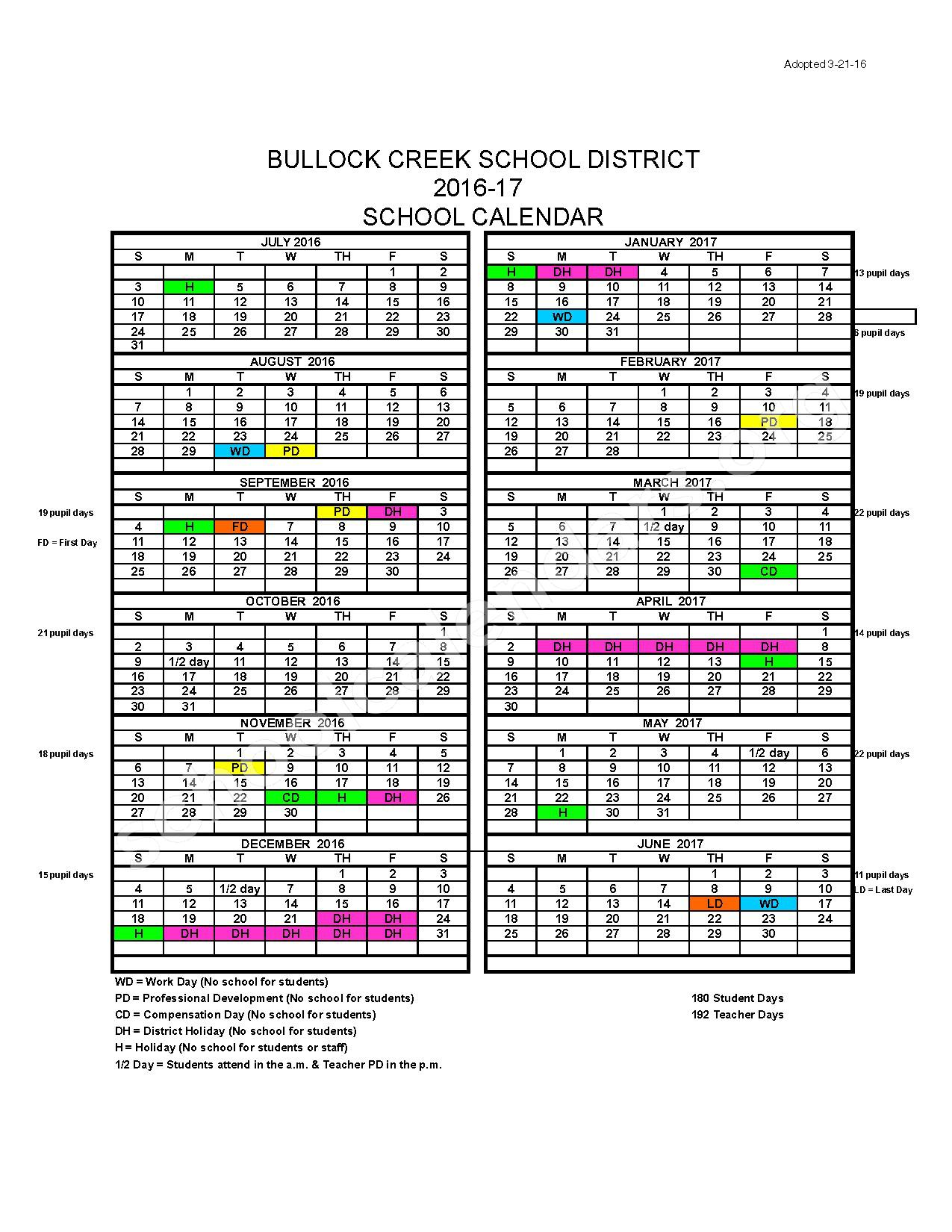 2016 - 2017 School Calendar – Bullock Creek School District – page 1