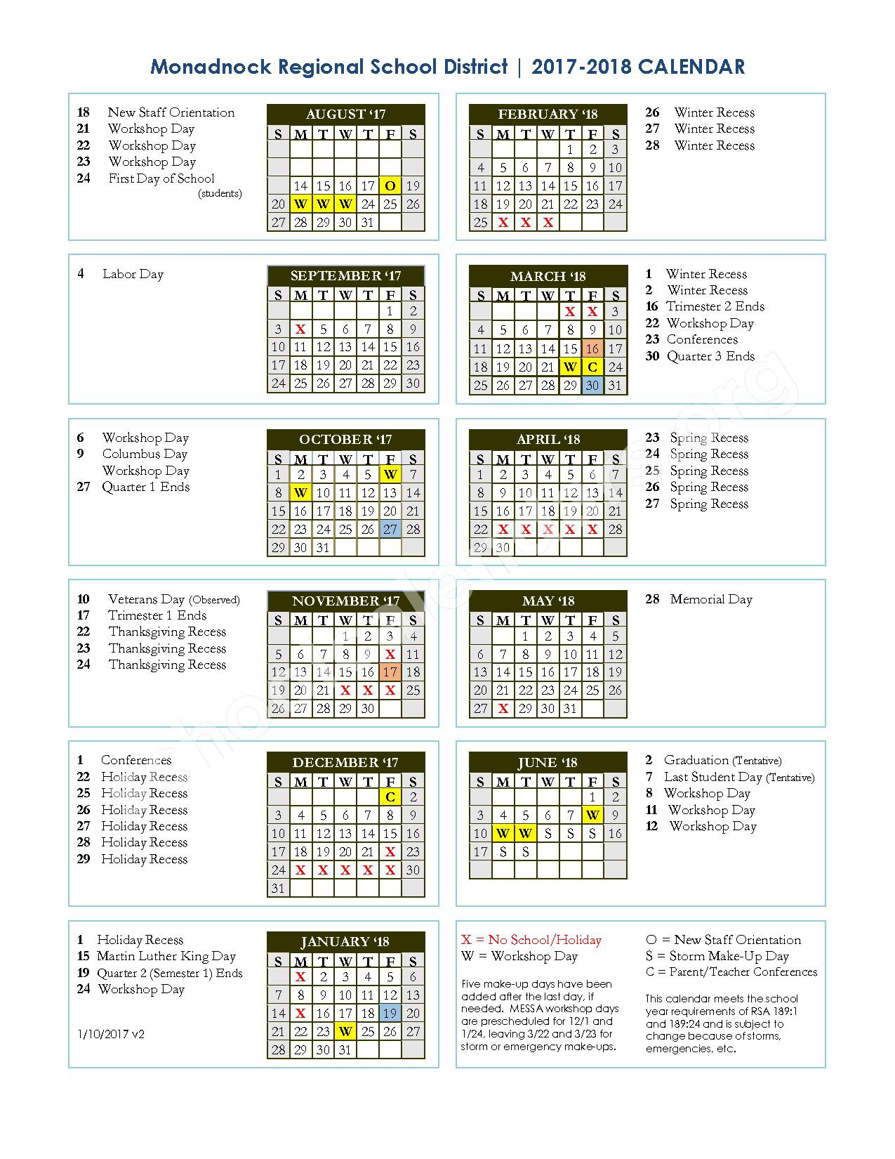 2017 - 2018 School Calendar – SAU 93 - Monadnock Regional School District – page 1