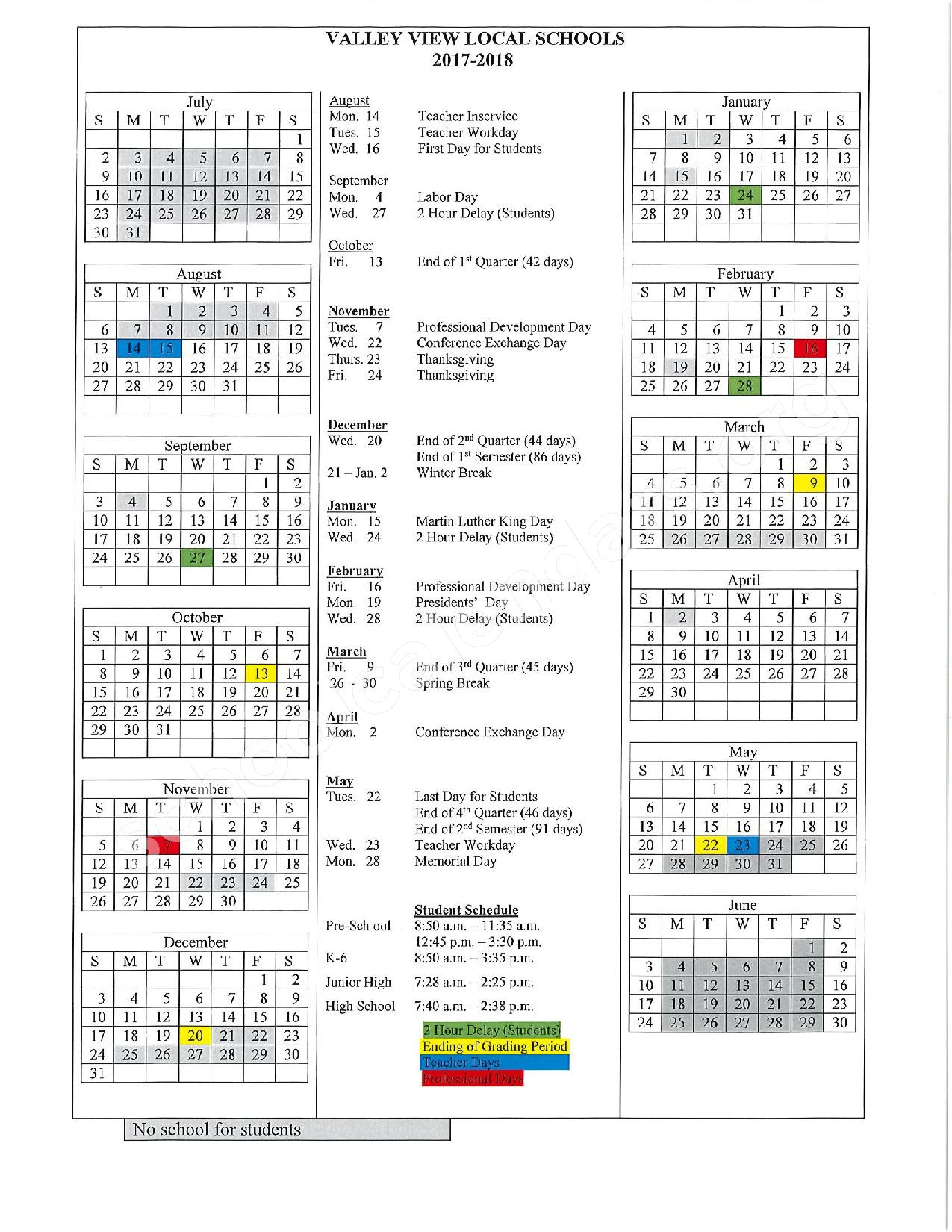 2017 - 2018 District Calendar – Valley View Local Schools – page 1