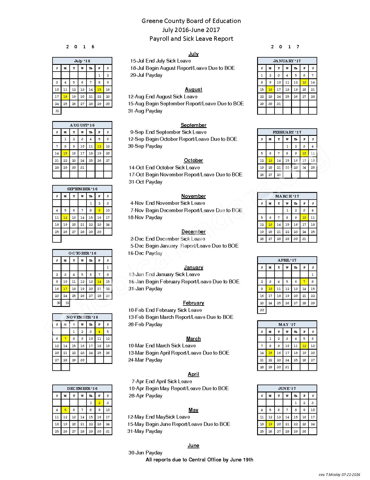 2016 - 2017 School Calendar – Greene County School District – page 1