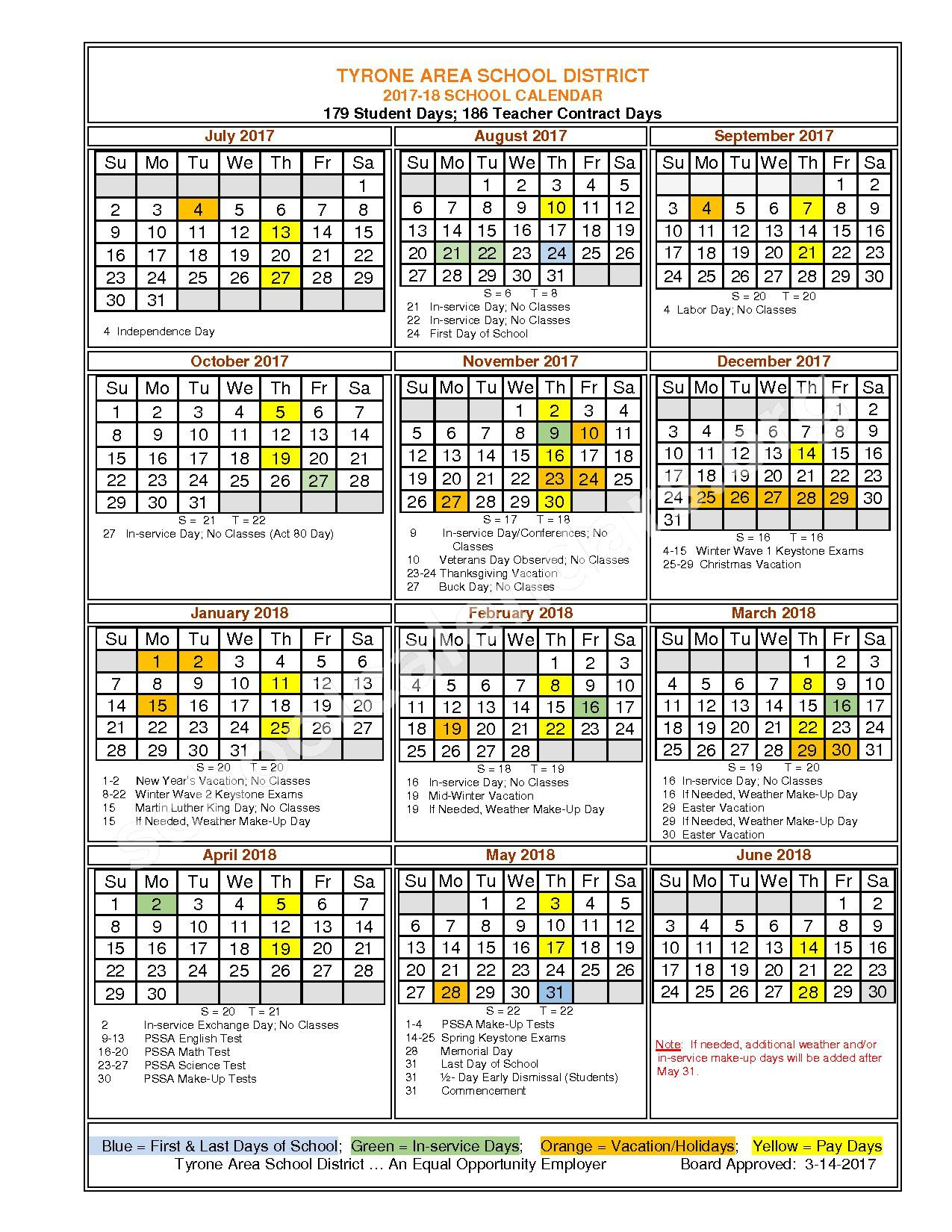 2017 - 2018 School Calendar – Tyrone Area School District – page 1