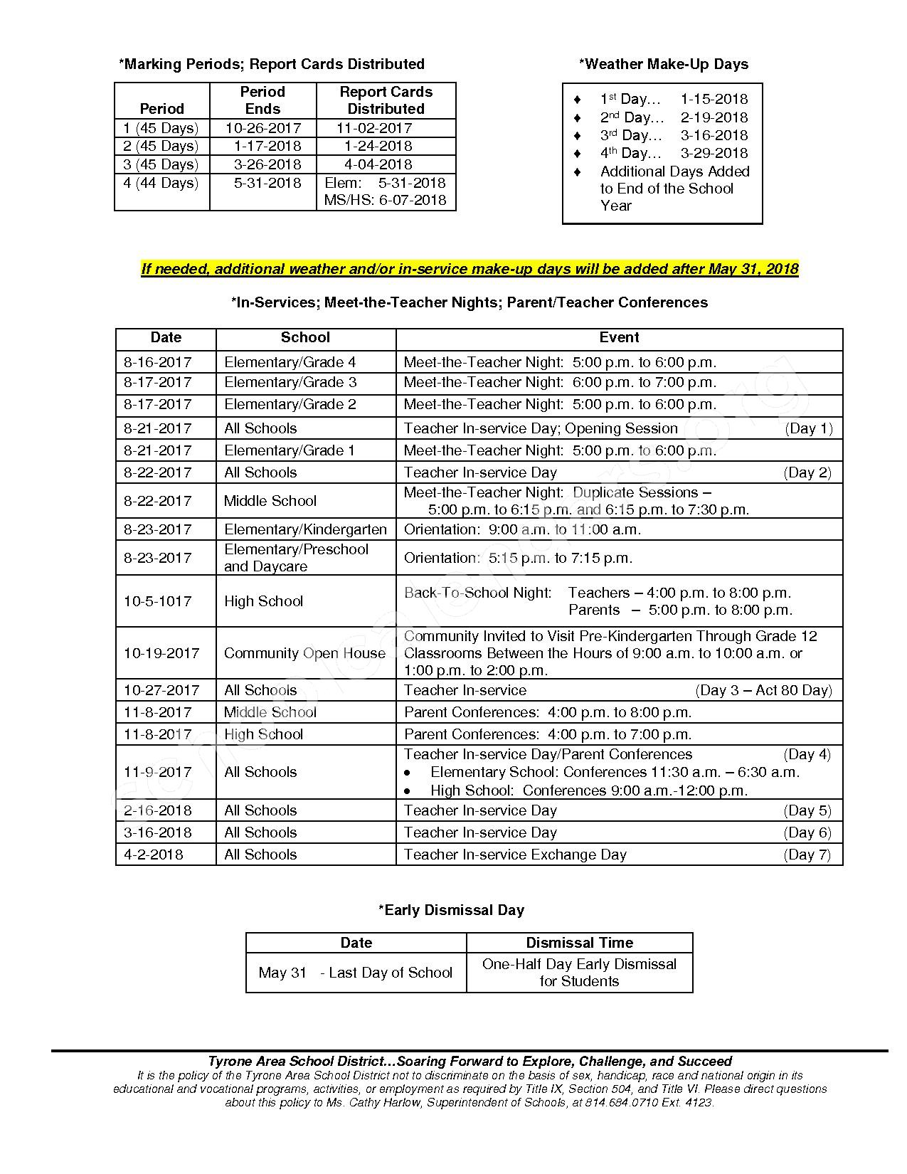 2017 - 2018 School Calendar – Tyrone Area School District – page 2