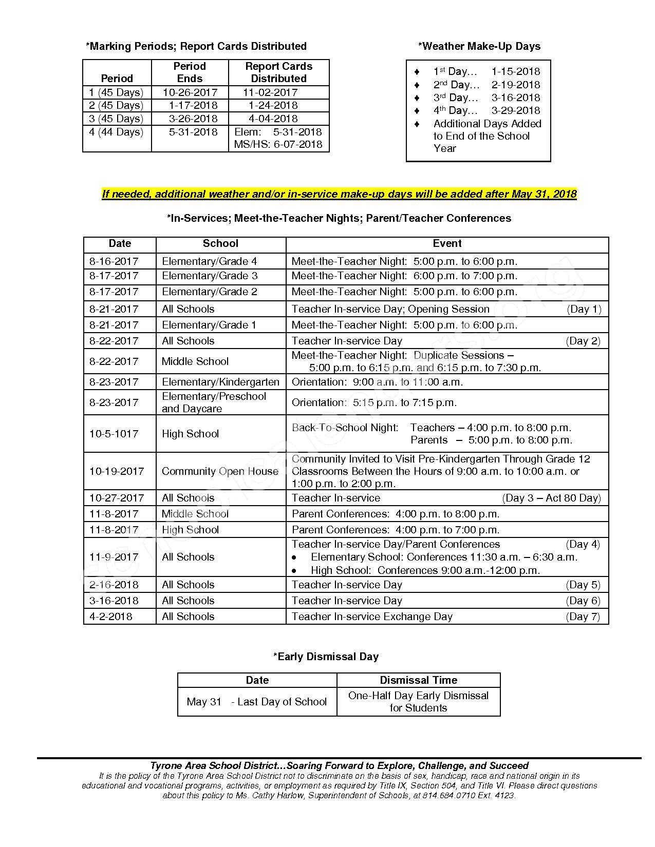 2017 - 2018 School Calendar – Tyrone Area School District – page 2