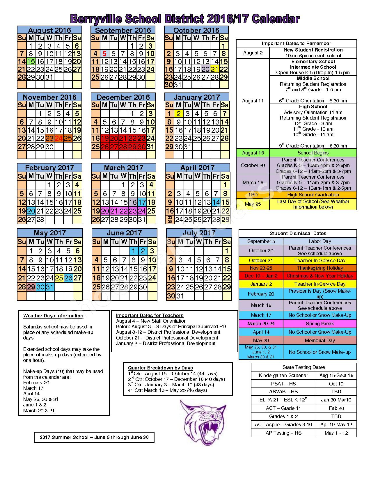 2016 - 2017 District Calendar – Berryville School District – page 1