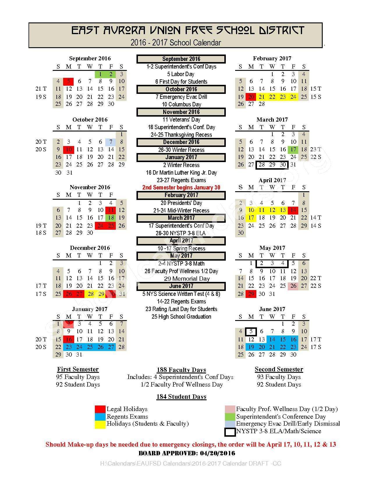 2016 - 2017 School Calendar – East Aurora Union Free School District – page 1